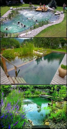 Natural swimming ponds, also called natural swimming pools, are a wonderful possibility . - Natural swimming ponds, also called natural swimming pools, are a wonderful way to relax - Natural Swimming Ponds, Natural Pond, Backyard Pool Landscaping, Ponds Backyard, Landscaping Ideas, Backyard Ideas, Pool Ideas, Acreage Landscaping, Backyard House