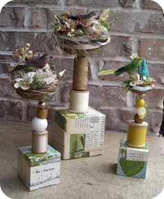 Bird nest totems by Katie Runnels