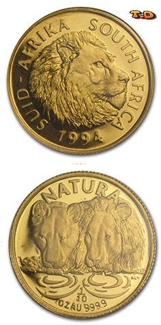 1994 South Africa oz Gold Natura Lion Year: 1994 Grade: Proof Grade Service: None Denomination: oz Mint Mark: Not Shown Metal Content: troy oz Purity: Manufacturer: South African Mint Thickness: mm Gold And Silver Coins, Troy, South Africa, Bling, Personalized Items, Metal, Color, Coins, Jewel
