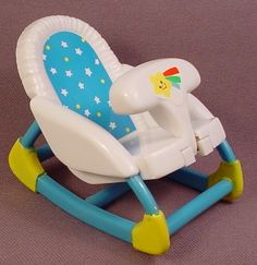 Fisher Price Loving Family Dollhouse 1999 Blue & White Baby Chair With Swing Out Front Tray