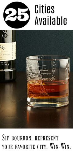 Kentucky Bourbon is my husband's favorite. They even have a Louisville glass! Might need this for our in home bar. #affiliate #bourbonglass #bourbon #homebar #giftsformen #militarygift #homecity #chicago #newyork #louisville #losangeles #america