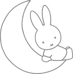 Muursticker 'Nijntje op de maan' Bunny Drawing, Miffy, Baby Bonnets, Mini S, Disney And More, Doodle Drawings, Punch Needle, Cool Rooms, Paper Design