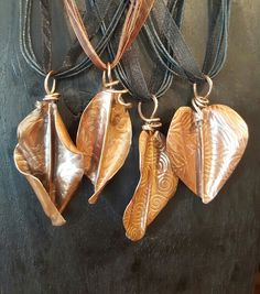 Fold Form Copper Leaf Pendants - by Adornametals