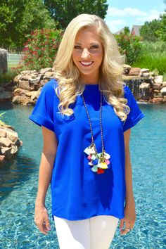 Bring it Back Blouse- Royal Blue from Shop Southern Roots TX