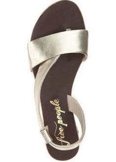 f32402196ef7ca Details about Free People Womens 7 Under Wraps Leather Open Toe Gold  Metallic Flat Sandals 37