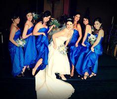 Royal blue bridesmaid dresses by Mori Lee