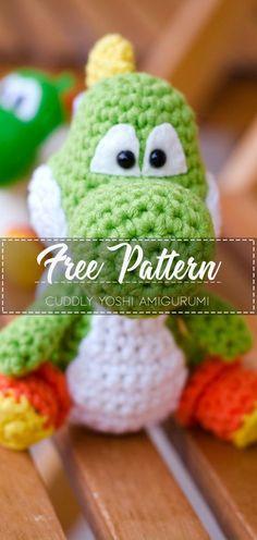 Cuddly Yoshi Amigurumi – Free Pattern – Free Crochet - Kids and parenting Crochet Toys Patterns, Amigurumi Patterns, Stuffed Toys Patterns, Amigurumi Doll, Crochet Gratis, Diy Crochet, Irish Crochet, Yoshi, Amigurumi For Beginners