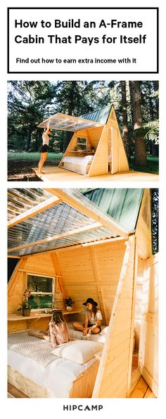 How to Build This A-Frame Cabin That Will Pay for Itself frugal a frame<br> With this breezy plan, you'll see that A-frames can be affordable and easy-to-build—not to mention incredibly dreamy weekend getaways. Tree House Plans, Casa Patio, Tree House Designs, A Frame House, Cabins In The Woods, Play Houses, Kid Tree Houses, Future House, Outdoor Living