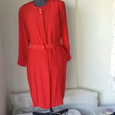 Sale Plus silk dress was $45 Red 100 % silk midi dress gold buttons in front and on the sleeves beautiful dress. Comes with a belt . Length 56in Bust 56in  front  29 in Waist 56 in   Sleeves 24in ARGENTI Dresses