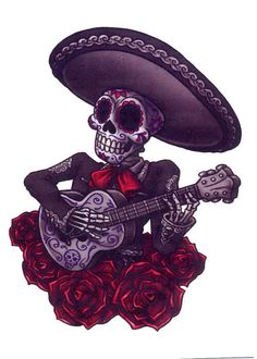 This is a x Day of the Dead temporary tattoo of a sugar skull mariachi skeleton playing the guitar. Chicano Tattoos, Sexy Tattoos, Unique Tattoos, Body Art Tattoos, Tattoos For Women, Sleeve Tattoos, Small Tattoos, Tatoos, Calavera Tattoo