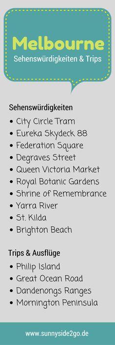 Tipps und Sehenswürdigkeiten, die du in Melbourne nicht verpassen solltest, sowie schöne Ausflugsziele.