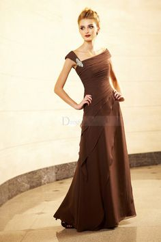 Asymmetrical Neckline Sheath Mother of the Bride Dress with Glamorous Brooch