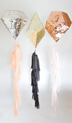 """Tassel Tails $18.00 Prospect Goods Piñata, free of charge. (Piñatas sold separately.)      * 8 Tassels on 4' of Twine     * Each Tassel is 14"""" Long     * Ships to the USA & Canada only     * Handmade by Prospect Goods     * Made in the USA"""