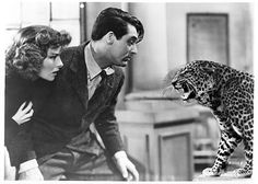 Katharine Hepburn and Cary Grant confront Baby the leopard, Bringing up baby, 1938