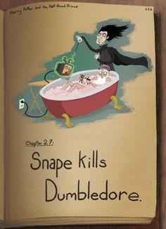 Snape kills Dumbledore.
