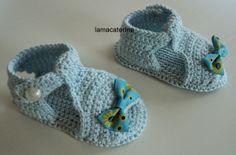 Las Labores y Manualidades de Caterine: Sandalias de bebe hechas en ganchillo/crochet