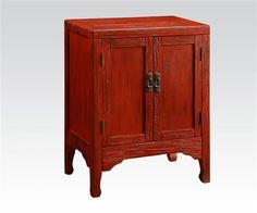 Caine Antique Dark Red Wood Console Table