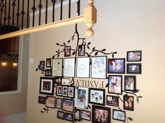 "My ""Family Tree"" picture wall -- decals and dollar store frames!"