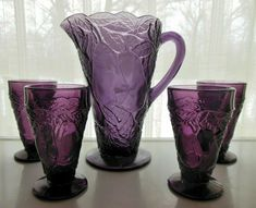Indiana Glass introduced the Avocado Pattern in Indiana Glass for Tiara. and sold through Tiara Exclusives. The gorgeous Pitcher holds about 40 ounces and has. Purple Haze, Shades Of Purple, Vintage Love, Vintage Items, Pink Kids, All Things Purple, Indiana Glass, Purple Glass, Tumblers