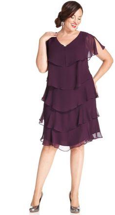 $84 Patra Plus Size Shortsleeve Tiered Dress in Purple (Eggplant)