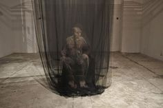 Thai artist Uttaporn Nimmalaikaew paints haunting, 3d-images on fine netting. He discovered the technique by accident in 2001 when, while studying at Silapakorn University in Bangkok, he noticed a spot of paint on his mosquito netting. Nimmalaikaew soon realized that he could create the impression of depth and volume by combining multiple layers.