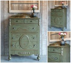 Dark Soft Wax is a wonderful way to add depth to any piece. Tami of Paint Me Twice shares this lovely dresser finished in Chateau Grey Chalk Paint® by Annie Sloan - the color chosen by her daughter for this project. Tami blended French Linen & Old White together for the accents and finished the distressed piece with Dark Wax for a rich Olive tone!