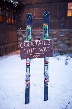 Ski wedding arrow signage
