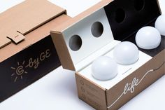 Creating a package that both shipped and presented the lightbulb in a unique way, we were also able to address typical packaging frustrations. With less materials than traditional packaging and no scissors required, we crafted a delightful, memorable unboxing experience that's fuss free and leads to quick installation. And made only from one material- cardboard, the C by GE box is easily recyclable.