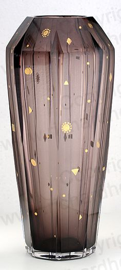 c.1930s TALL VAL ST. LAMBERT DECO CASED & CUT AMETHYST CRYSTAL SCALA VASE.