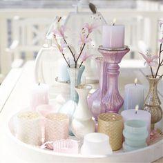 Wunderschöne Deko mit Kerzen in Pastellfarben! #ThierGalerie #Frühling #spring