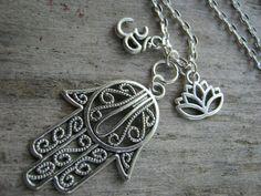 Hamsa Om Lotus Necklace Hinduism Necklace by Abundantearthworks