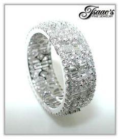 2 61ct Mosaic Diamond Eternity Band Round Baguettes 18K | eBay