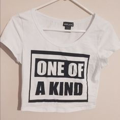 "White crop top ""One of a kind"" wet seal crop top Wet Seal Tops Crop Tops"
