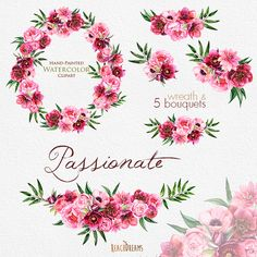 This set of high quality hand painted watercolor peonies, roses, anemones, dahlias wreath and 5 bouquets Perfect graphic for wedding invitations, greeting cards, photos, posters, quotes and more.   Item details:  6 PNG files. (300 dpi, RGB, transparent background) Wreath size (larger side) aprox.: 15,5 inch, 4650 px Bouquets size (larger side) aprox.: 12 inch, 3600 px - 8 inch, 2400 px  ----------------------------------------------------------------  Instant Download: Once payment is…