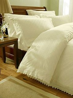 From 15.99 Embroidered Broderie Anglais Double Duvet Cover And 2 Pillowcase Bedding Bed Set Cream