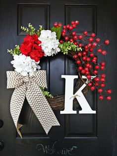 Christmas Berry and Chevron Burlap Block Monogram Wreath, Chevron Christmas Wreath, Monogram Christmas Wreath, Red Berry Christmas Wreath by AnnabelleEveDesigns on Etsy Holiday Wreaths, Holiday Crafts, Holiday Fun, Christmas Wreaths For Front Door, Winter Christmas, Christmas Home, Chevron Christmas, Christmas Ideas, Outdoor Christmas