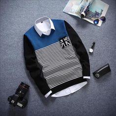 Men's Fashion Long Sleeved Stripe Sweater