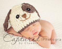 Baby Boy Hat PUPPY LUV Newborn Baby Boy Crochet Doggy Hat  0 3 6 months paws