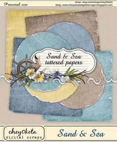 Sand & Sea Tattered Paper Set - Digital Scrapbooking