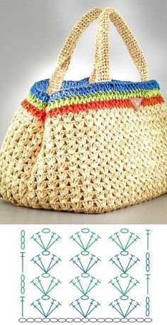 De Croche De Croche barbante De Croche com grafico De Croche de mao De Croche festa - Bolsa De Crochê Mode Crochet, Crochet Tote, Crochet Handbags, Crochet Purses, Knit Crochet, Crochet Square Patterns, Crochet Diagram, Crochet Stitches Patterns, Embroidered Bag