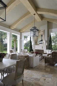 Florida room with gorgeous stone floors