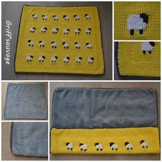 Sheep Knitted Baby Blanket 'P