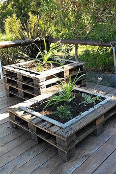This is how the stylish wood pallet planter stand project will look alike at the end of the day. It is look so modish in the end and will definitely b Wood Pallet Planters, Diy Planter Box, Diy Planters, Garden Planters, Wood Pallets, Planter Ideas, Recycled Planters, Balcony Garden, Pallet Wood