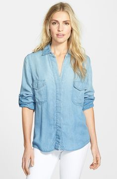 Sam Edelman easy chambray shirt is so perfect for summer. On sale now at Nordstrom.