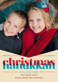 Merry Christmas and Happy Hanukkah merge today in this delightful photo card.