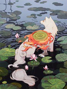 Amaterasu (Okami) by Jiayue Wu Anime Wolf, Art And Illustration, Fantasy Kunst, Fantasy Art, Anime Kunst, Anime Art, Art Asiatique, Amaterasu, Fantasy Creatures