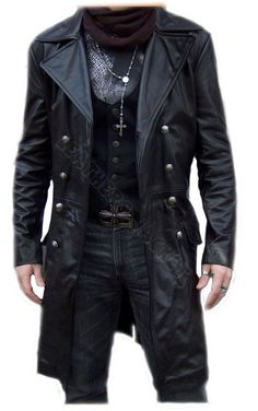 Handmade men black biker leather coat, men leather coat, men long leather coat, men antique buttons style coat. Only $229.99