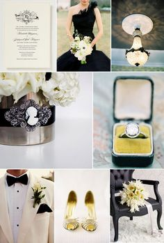 Inspiration for a decadent black and white themed wedding | Bridal | Engagement Ring | Flower arrangement | Bridesmaid Dress | Invitations | Centerpiece