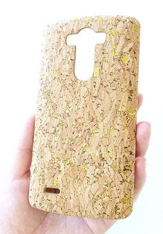 FOR LG G3 Gold Glitter Real Wood Cork Cell Phone Cover by Yunikuna