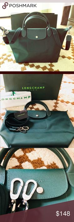 Longchamp Longchamp Medium size Color/Material: Nylon And Leather Exterior Design Details: Silver-Tone Hardware Removable Shoulder strap Zippered Top. Imported Pretty Color... Must have! Longchamp Bags Totes